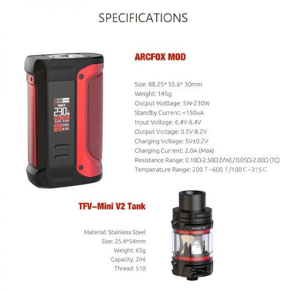 arcfox-tfv-mini-kit-specifications